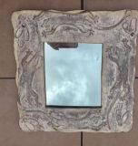 Unusual Mirror With Hand Carved Lizards On Sun-Bleached Looking Wood Frame