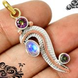 New - Moonstone & Rainbow Topaz 925 Sterling Silver, Gold and Copper Pendant (Includes a chian)