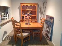 $550, Dinning table 4 high back chairs and 2 piece buffett