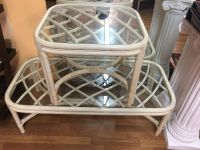 Rattan coffee table and matching end table.