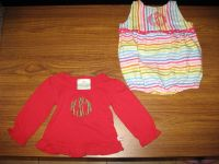 Lolly Wolly Doodle: Girl Red Long Sleeve Shirt(12-18mos.) & Romper(9-12mos.)