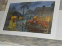 Shelter from the Storm John Deere Tractor Litho Print by