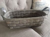 Large White Washed Farmhouse Style Basket approx 20 x 10 3/4
