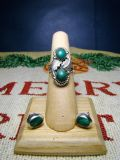 Green Malachite Elongated Turquoise Ring Size 6 & Matching Earrings