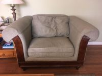 Flexsteel loveseat and oversized chair with square coffee table and end table