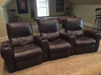 Brown leather theater seats set