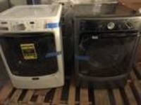 New Maytag Maxima MGD5100 White Washer Black Dryer