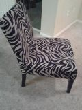 $100, Zebra Accent Chair with Zebra Hinged Ottoman