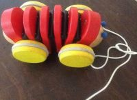 Wooden plan toy Red Caterpillar pull toy wood