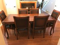 Distressed Dark Cherry French Farm House Dining Room Table with 6 chairs