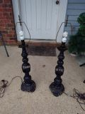 Antique wrought iron lamps .(2)