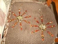 "2 Large Brown Beaded Flower Design Tree Ornaments! 4"" h x 3 "" w"