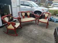 3 Piece Set of Antique Furniture - Love Seat, Chair, and Rocker