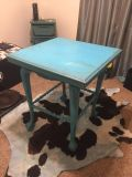 Blue distressed antique farmhouse style table