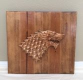Game of Thrones House Stark Wolf Sigjl Reclaimed Wood