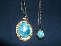 TWO SIMULATED TURQUIOSE NECKLACES