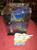 Small fish tank with accessories and heater