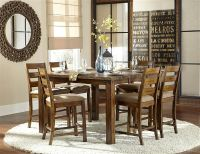 $849, RONAN RUSTIC FINISH SOLID wood pub 7pc kitchen dining table- NEW