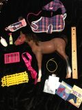 18 doll horse set. Horse has wear from playing