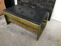 Black Tufted Vinyl Top & Wooden Hollow Bench
