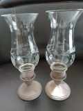 2 Stirling Silver and Glass Hurricane Lanterns / Lamps