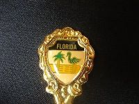 Florida gold tone shell ocean sea cruise state collector souvenir spoon travel