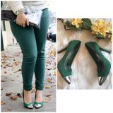 Emerald Green Silver Capped Toe Heels. Worn 2x. Size 9. Style photo not mine and is for suggestions only.