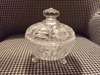LEAD CRYSTAL VINTAGE ETCHED COVERED CANDY DISH