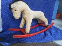 Antique, Mohair child's Riding Horse with Wooden Rockers