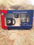 """Handcrafted real Pewter Embossed NFL """"Lions"""" 3 piece gift set - coffee cup, shot glass and handled mug. Also a NHL """"Red Wing"""" one."""