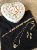 Brighton Jewelry Light Blue Topaz Two-Tone Necklace, Bracelet and Earrings