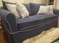 2 Navy Blue Shabby Chic Couches Sofas
