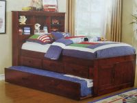 Queen bookcase bed three-drawer elevation storage twin trundle
