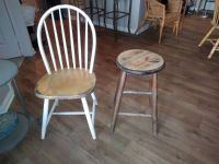 Rustic barstool and farmhouse windsor style chair