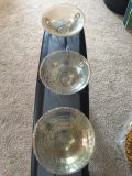 Three Beautiful 10 Glass Crackle Bowls with Pedestals-Cleaning Out-Must Go!