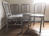 Set of 4 steel silvertone dining chairs