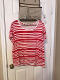 Women's red and white striped shirt. Size 22/24W. $3