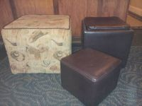 COWBOY PRINT OTTOMAN AND TWO LEATHER LIKE FOOTSTOOLS
