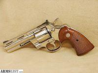 "For Sale: Colt Python 357 Mag 4"" Nickel Revolver Mfg 1977"