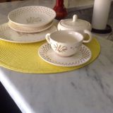 Very old dishes. No markings on bottom. I have (1) sugar bowl with lid). Total 24 pieces.