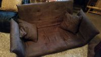 Brown / Microfiber Folding Floor Couch / Bed