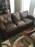 Leather Couch with foldout queen sofa bed