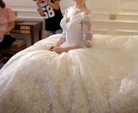 Jody's Lace Applique A Line Wedding Gown With Court Train