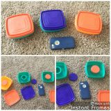 Set of 3 Tupperware bowl, dip sets. All lock shut very hard, so a bit difficult for children to close. $2.00