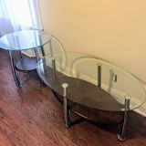 Glass-top Coffee Table & End Table Set with Wood Shelves