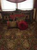 J Queen King Size Comforter, Bed Skirt & all the Throw Pillows