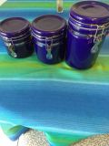 Three piece canister set,good condition,royal blue