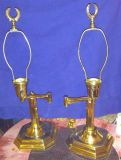 Set of brass table lamps