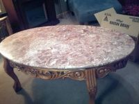 pinktan marble coffee and end tables