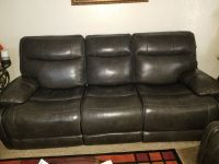 Leather recliner sofa & oversized matching chair